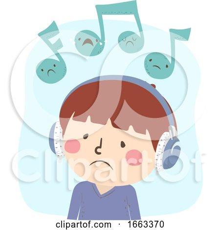 Kid Boy Listen Music Sad Illustration by BNP Design Studio