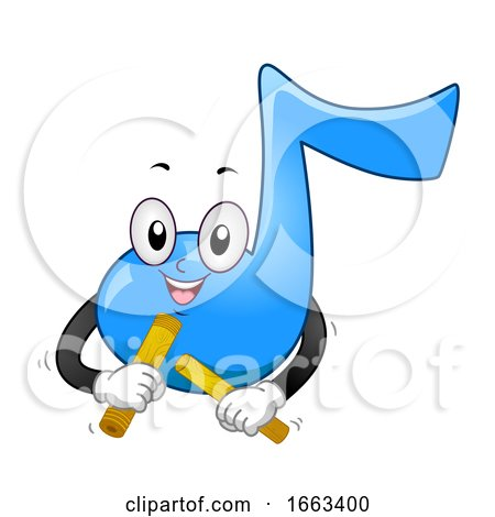 Music Note Mascot Play Claves Illustration by BNP Design Studio
