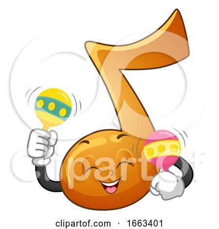Music Note Mascot Play Maracas Illustration by BNP Design Studio