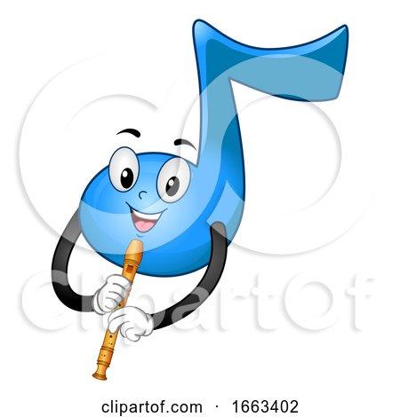 Music Note Mascot Play Recorder Illustration by BNP Design Studio