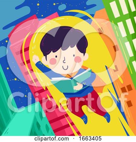 Kid Boy Read Book Super Hero Illustration by BNP Design Studio