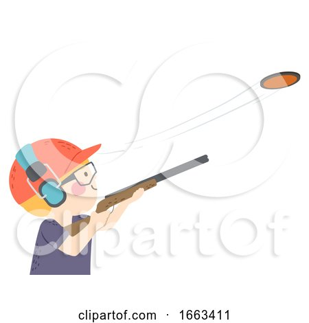 Kid Boy Clay Pigeon Shooting Illustration by BNP Design Studio