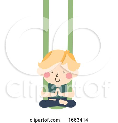 Kid Boy Aerial Yoga Illustration by BNP Design Studio