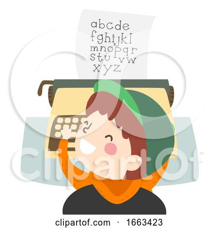 Kid Boy Play Typewriter Alphabet Illustration Posters, Art Prints