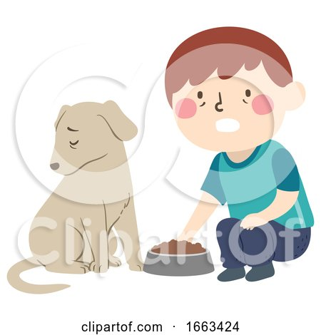 Kid Boy Pet Dog Dying Loss Appetite Illustration by BNP Design Studio