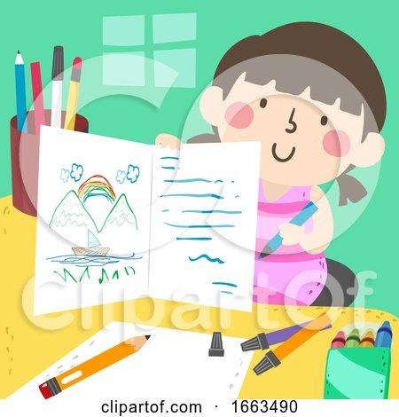 Kid Girl Drawing Writing Card Making Illustration by BNP Design Studio