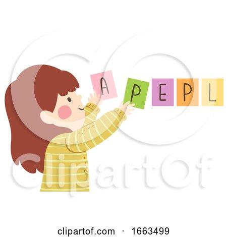 Kid Girl Arrange Jumble Word Illustration by BNP Design Studio