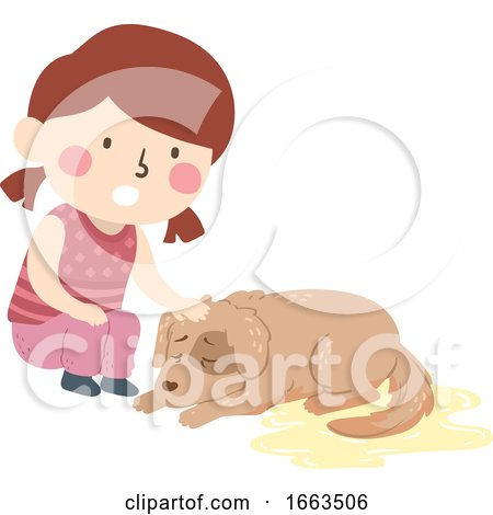 Kid Girl Pet Dog Dying Uncontrollable Bladder Posters, Art Prints