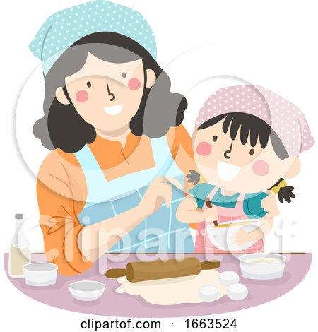 Kid Girl Mom Teach How to Bake Illustration by BNP Design Studio