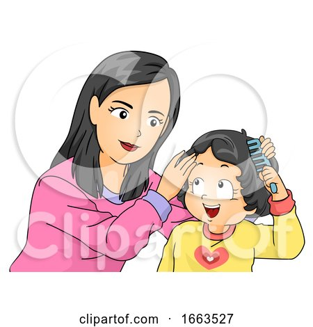 Kid Girl Mom Toddler Teach How To Comb Hair By Bnp Design Studio 1663527