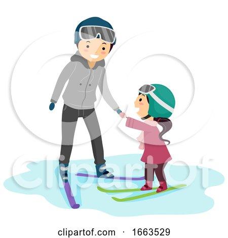 Stickman Kid Girl Teacher Ski Lesson Illustration by BNP Design Studio