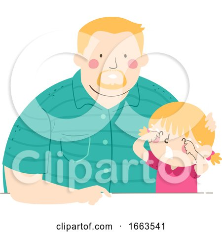 Kid Girl Cry Dad Companion Illustration by BNP Design Studio