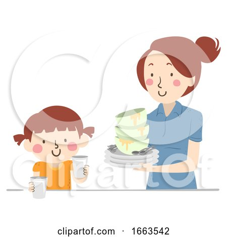 Kid Girl Mom Help Clearing Table Illustration by BNP Design Studio