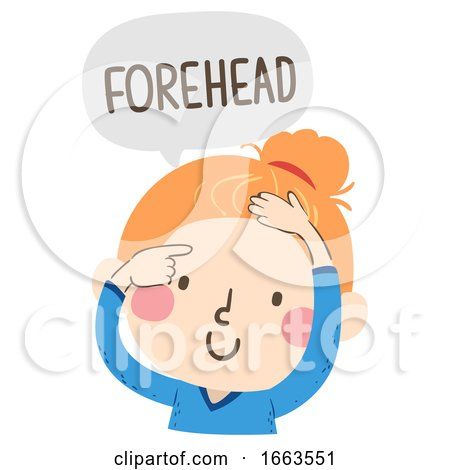 Kid Girl Naming Body Parts Forehead Illustration by BNP Design Studio
