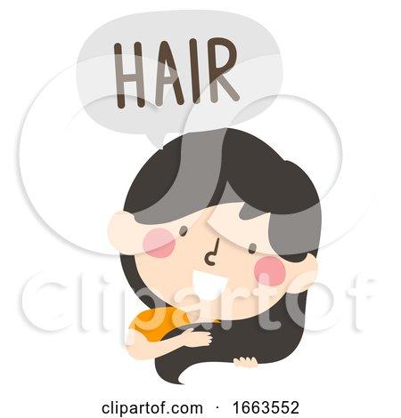 Kid Girl Naming Body Parts Hair Illustration by BNP Design Studio
