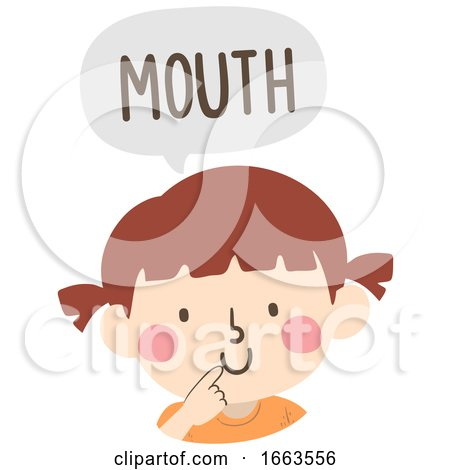 Kid Girl Naming Body Parts Mouth Illustration by BNP Design