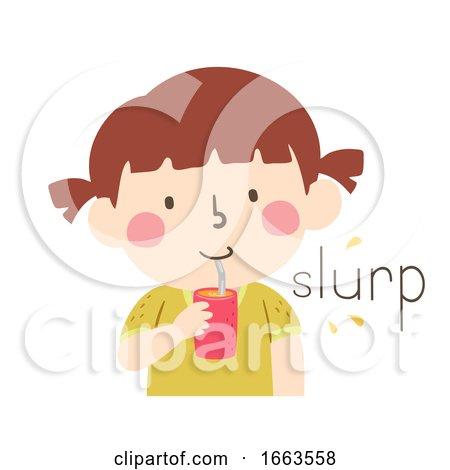 Kid Girl Drink Straw Onomatopoeia Sound Slurp by BNP Design Studio