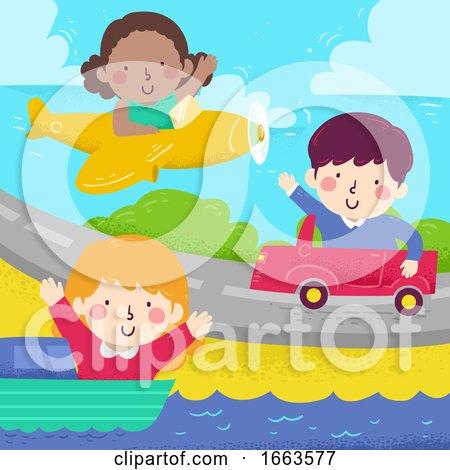 Kids Wave Diff Transportation Illustration by BNP Design Studio