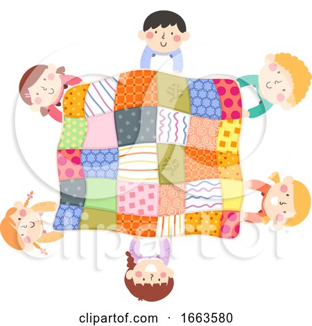 Kids Activity Quilt Top View Illustration by BNP Design Studio