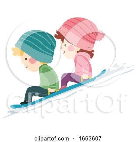 Kids Snow Sledding Illustration by BNP Design Studio