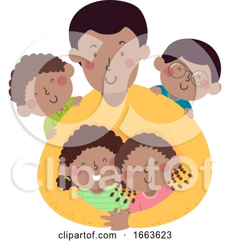 Kids Dad African Hug Illustration by BNP Design Studio