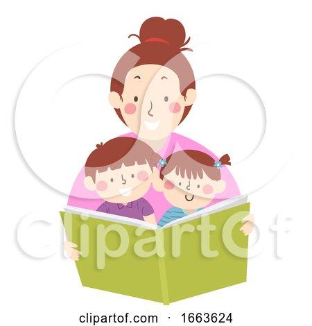 Kids Mom Read Book Storytelling Illustration by BNP Design Studio