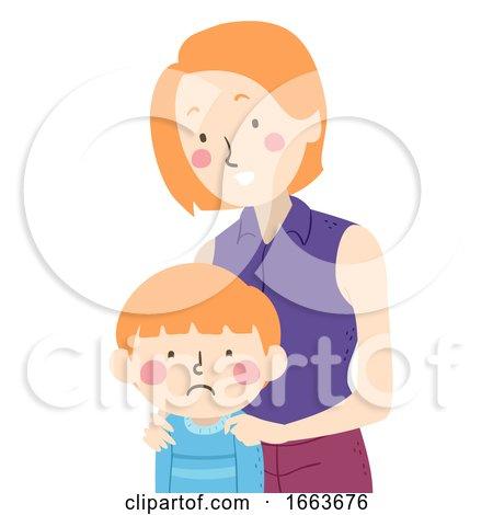 Kid Boy Feel Sad Mom Illustration by BNP Design Studio