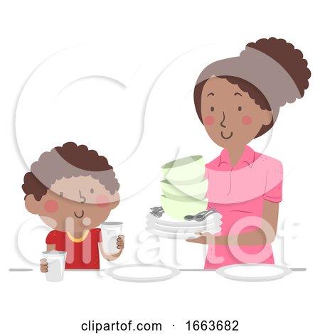 Kid Boy Mom Dining Table Set up Illustration by BNP Design Studio