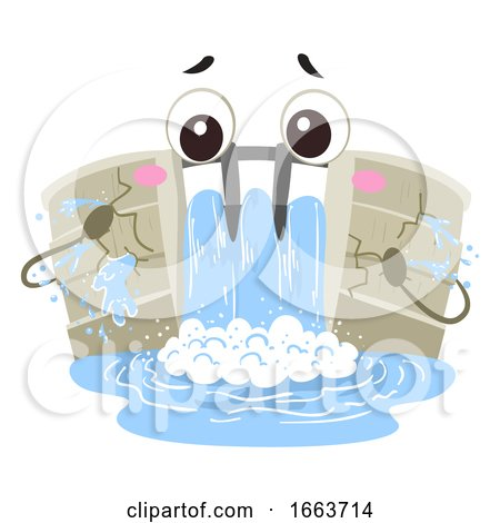 Mascot Dam Crack Illustration by BNP Design Studio