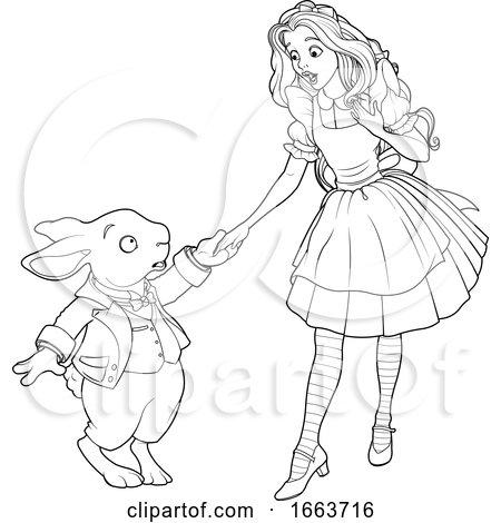 Black and White Rabbit Meeting Alice by Pushkin