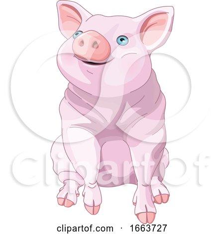 Cute Blue Eyed Pig by Pushkin