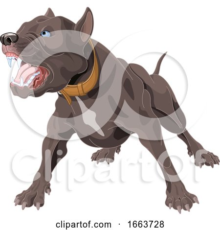Angry Pit Bull Dog by Pushkin