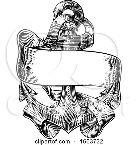 Anchor from Boat or Ship Tattoo Drawing by AtStockIllustration