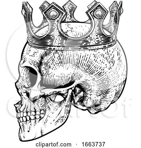 Skull Crown King Human Royal Skeleton Posters, Art Prints
