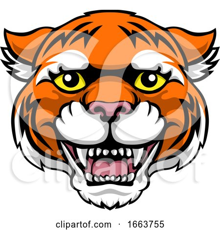Tiger Mascot Cute Happy Cartoon Character by AtStockIllustration