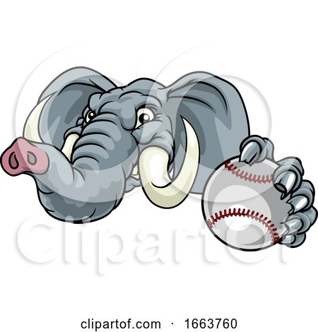 Elephant Baseball Ball Sports Animal Mascot by ...
