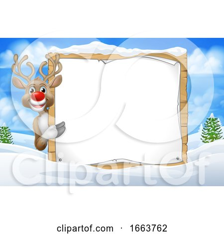Reindeer Sign Christmas Snow Scene Cartoon by AtStockIllustration