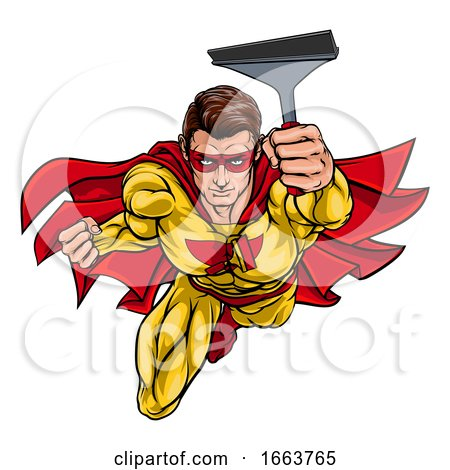 Super Window Cleaner Superhero Holding Squeegee by AtStockIllustration