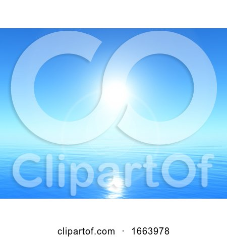 3D Tranquil Ocean Landscape with Bright Blue Sky by KJ Pargeter