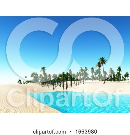3D Tropical Landscape with Palm Trees by KJ Pargeter