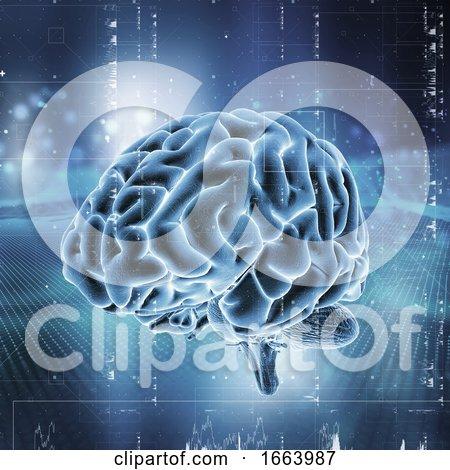 3D Medical Technology Background with Brain on Digital Design by KJ Pargeter