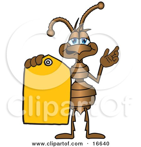 Clipart Picture of an Ant Bug Mascot Cartoon Character Holding Out a Yellow Sales Price Tag by Toons4Biz