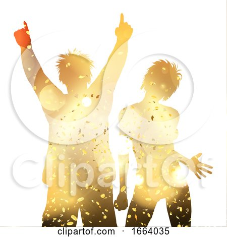 Party Couple on a Gold Confetti Background by KJ Pargeter