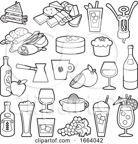 Black and White Food Icons Posters, Art Prints