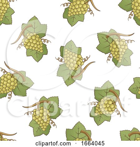 Seamless Green Grapes Pattern by Any Vector