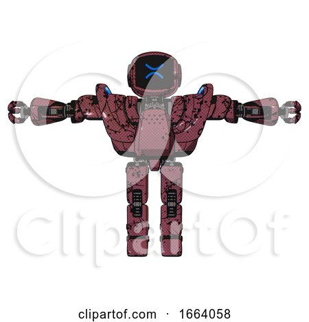 Android Containing Digital Display Head and Wince Symbol Expression and Heavy Upper Chest and Heavy Mech Chest and Battle Mech Chest and Prototype Exoplate Legs. Muavewood Halftone Grunge. T-pose. by Leo Blanchette