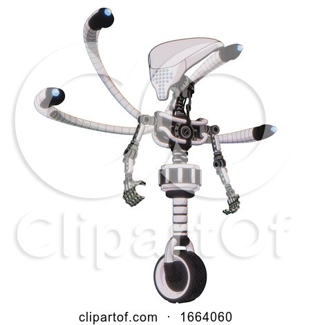 Automaton Containing Flat Elongated Skull Head and Light Chest Exoshielding and Blue-eye Cam Cable Tentacles and No Chest Plating and Unicycle Wheel. White Halftone Toon. Hero Pose. by Leo Blanchette