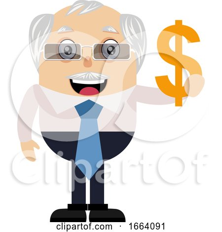 Old Business Man with Dollar Sign by Morphart Creations