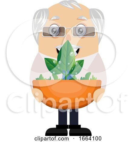 Old Business Man with Plant by Morphart Creations