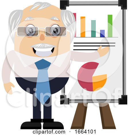 Old Business Man with Analytics Table by Morphart Creations